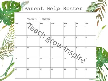 Parent Help Roster in tropical green leaf watercolours