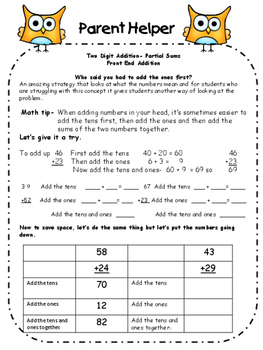 Parent Helper 2 and 3 Digit Addition and Subtraction