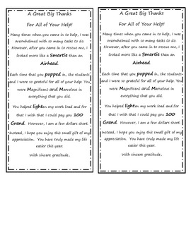 Parent Helper Appreciation Gift and Poem