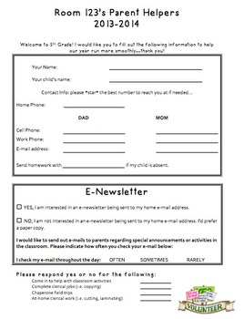 Parent Helper Form