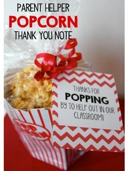 Parent Helper Popcorn Thank You Note {FREEBIE}