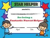 Parent Helper Star Award