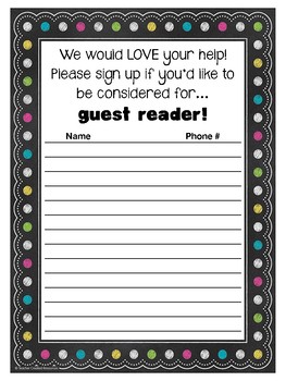 Parent Helpers Sign-Up Sheets