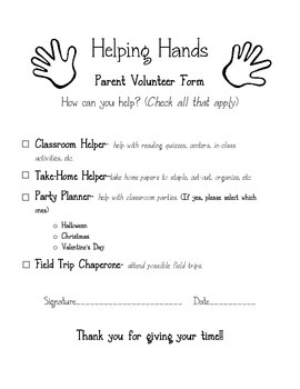Parent Helping Hands Form