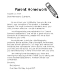 Parent Homework- Beginning of the Year/Meet the Teacher