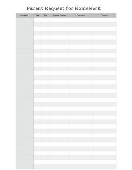 Parent Homework Chart