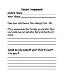 Parent Homework First Days Idea