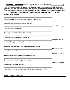 Parent Homework: Help Me Get to Know Your Child