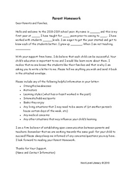 Parent Homework Introduction Assignment