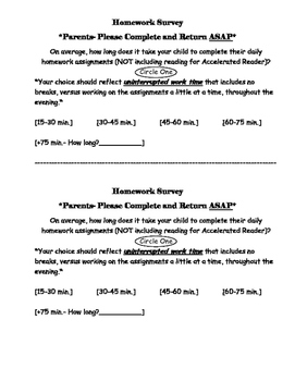 Parent Homework Survey