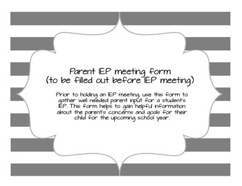Parent IEP Input form (before meeting)