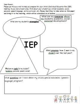 Parent IEP worksheet (before meeting)