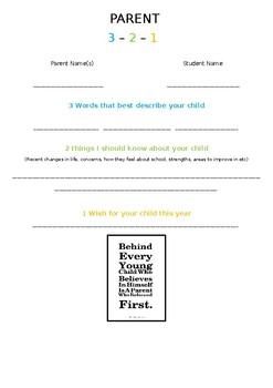 Parent Info Night 3-2-1 Activity