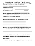 Parent Info and Survey- Back to School