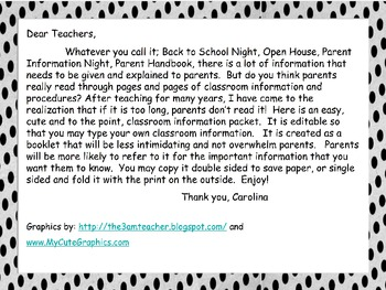 Parent Information, Back to School, Meet the Teacher Night, Editable Handbook