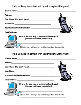 Parent Information Card
