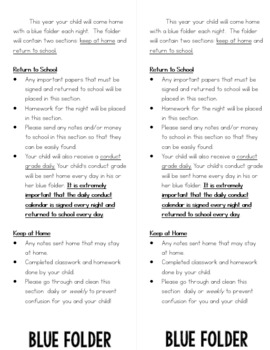 Parent Information Flip book