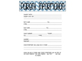 Parent Information Form - Editable
