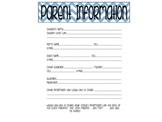 Parent Information Form - Editable