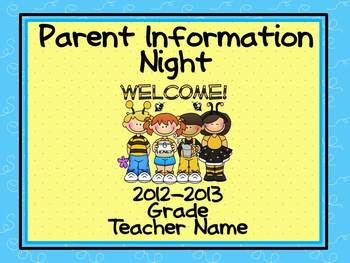 Parent Information Night Power Point Template - Buzzy Friends (Bee) Theme
