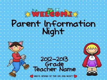 Parent Information Night Power Point Template - Fairy Tale Theme