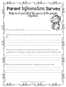 Parent Information Survey- Editable