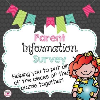 Parent Information Survey- Editable