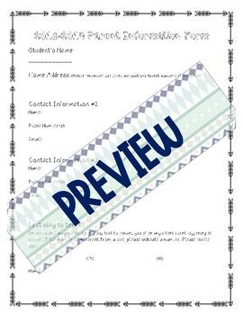 Parent Information Survey with Google Document Capability - Arrow/Tribal Themed