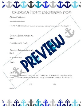 Parent Information Survey with Google Document Capability Anchor/Nautical Themed