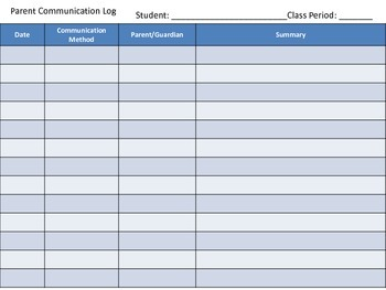 Parent Information and Communication Log