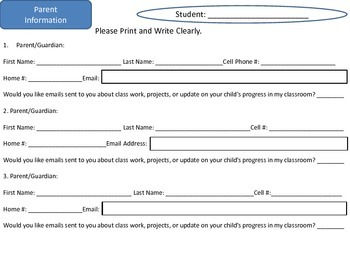 Parent Information and Communication Log