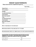Parent Information and Questionnaire Form