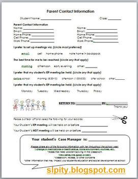 Parent Information for IEP Case Manager