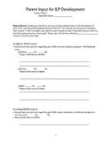 Parent Input Form for IEP Meeting