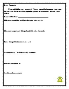 Parent Input Sheet for Back to School