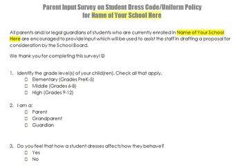 Parent Input Survey School Uniforms or Dress Code Policy
