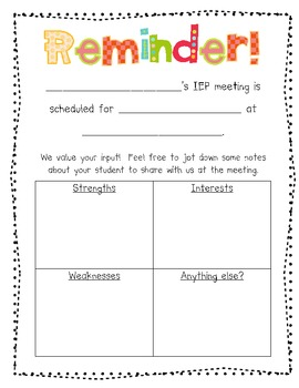 Parent Input And Reminder Form For IEP Meetings By Nicole