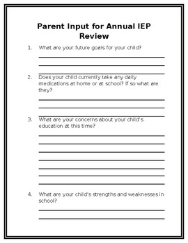 Parent Input for Annual IEP Review