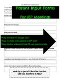 Parent Input for IEP Meeting / Pre-IEP Parent Questionnaire *Fully Editable*
