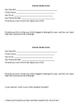 Parent Intake Form