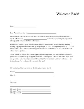 Parent Introduction/New School Year Letter for Occupational Therapy