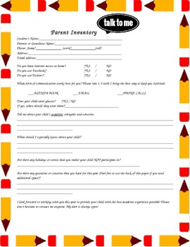 Parent Inventory - Back to School / Open House Printable