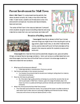 Parent Involvement Letter for Mall Town