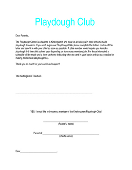 Parent Involvement: Playdough Club