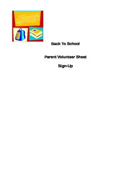 Parent Involvement Sign-up Letter Beginning of School