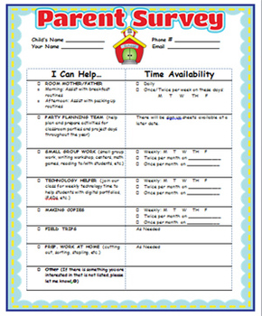 Parent involvement survey and certificate by oodles for for Parent involvement plan template