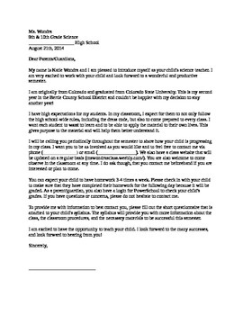 Parent Letter -- 1st Day of School