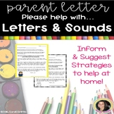 Parent Letter ~ Alphabet Letters and Sounds ~