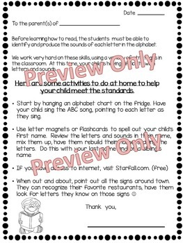 Parent Letter ~ Alphabet Letters and Sounds ~