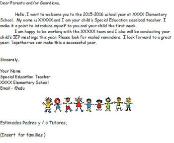 Parent Letter - (Beginning of School Year)